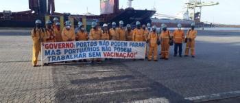 Portuários protestam por vacina contra a covid-19; categoria diz que 184 ficaram doentes no ES