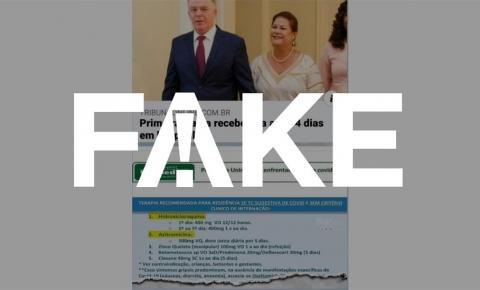 É #FAKE que primeira-dama do Espírito Santo se curou da Covid-19 com protocolo de cloroquina