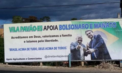 """""""Fico feliz com esse carinho da população capixaba"""", diz ex-deputado Manato ao ver sua foto com Bolsonaro em outdoor"""